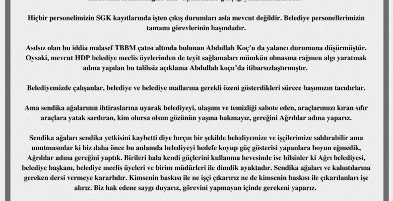 """Ağrı Belediyesi: """"HDP'li Koç'un belediyede çalışan 3 işçinin iş akitlerinin feshedildiği açıklamaları gerçeği yansıtmamaktadır"""""""