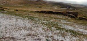 Ağrı'da aniden bastıran dolu çevreyi beyaza bürüdü